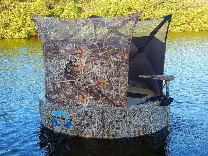 The woodsman hunting boat close up view on the water