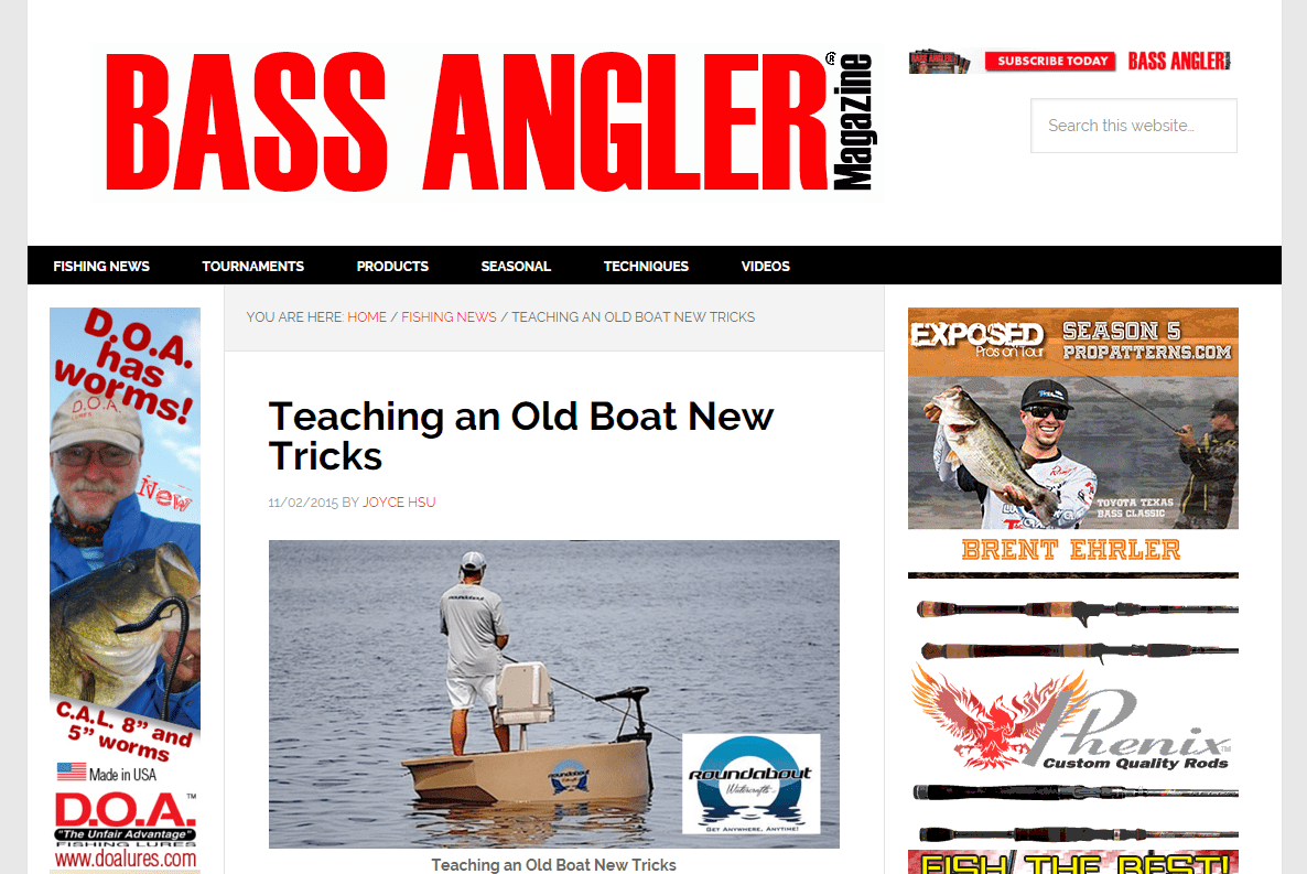 Teaching An Old Boat New Tricks Bass Angler Magazine screenshot of website