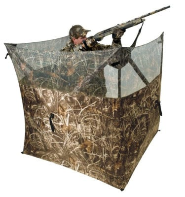 This is the product view of the round boat hunting blind by ameristep. Shows hunter with a shotgun inside.