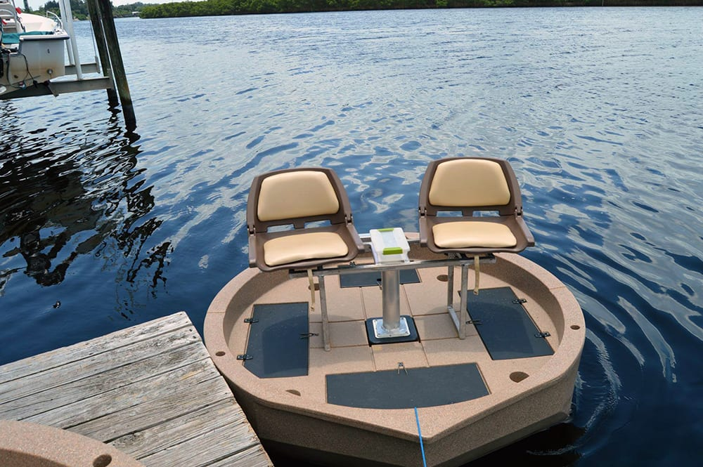 A front top view of the rond boat by Roundabout Watercrafts with the two seat option installed. Ultraskiff does not offer this.