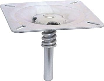 Product view of the round boat seat swivel mount.